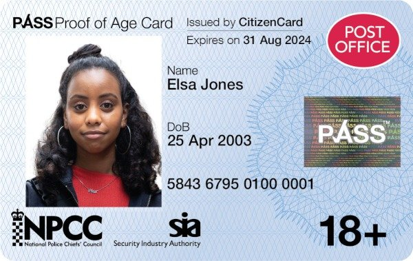 Post Office PASS Card issued by CitizenCard - UK proof of age card for over 18s
