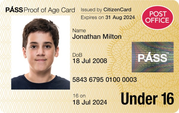 Post Office PASS Card issued by CitizenCard - UK proof of age card for under 16s